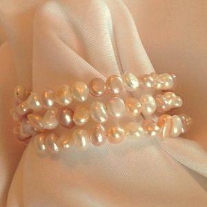Jewelry - Genuine Freshwater Pearl Coil Wrap Bracelet